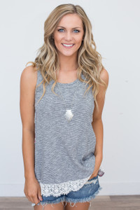 Striped Contrast Back Tank - Grey