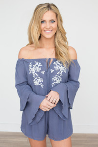 Embroidered Off The Shoulder Romper - Indigo - FINAL SALE