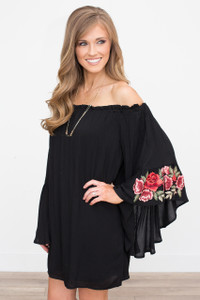 Romantic Rose Embroidered Dress - Black