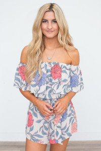 Carnation Floral Print Romper - Taupe Multi