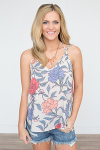 Carnation Floral Print Cami - Taupe Multi - FINAL SALE