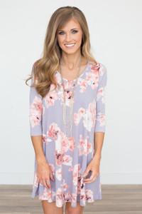 Floral Pocket Knit Dress - Dusty Lavender