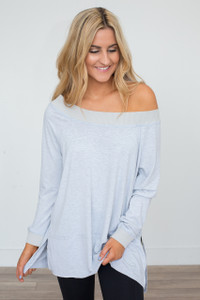 Off The Shoulder Tunic - Light Heather Grey