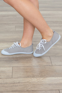 Top Down Lace Up Sneaker - Grey