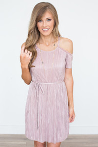 Everly Cold Shoulder Pleated Dress - Dusty Mauve - FINAL SALE