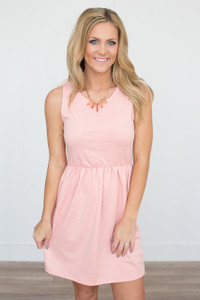 Solid Sleeveless Elastic Waist Dress - Peach - FINAL SALE