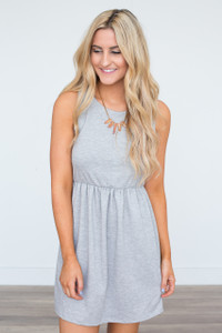 Solid Sleeveless Elastic Waist Dress - Heather Grey
