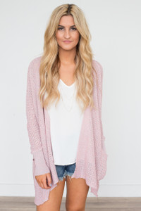 Open Front Lightweight Cardigan - Pink
