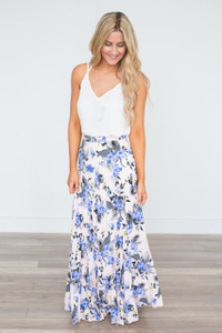 Floral Print Pleated Maxi Skirt - Blush/Blue - FINAL SALE