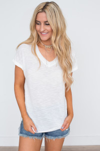 Raw Hem V-Neck T-Shirt - Off White