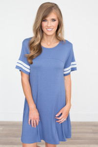 Short Sleeve Varsity Knit Dress - Blue - FINAL SALE