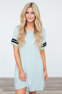 Short Sleeve Varsity Knit Dress - Light Sage - FINAL SALE