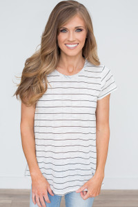 Striped Contrast Back Tee - Off White - FINAL SALE