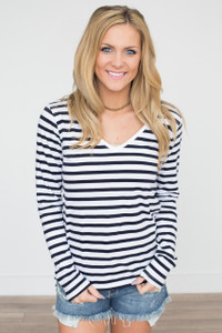 Basic Striped Long Sleeve Tee - Off White/Navy - FINAL SALE
