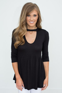 High Neck Cutout Babydoll Tunic - Black - FINAL SALE