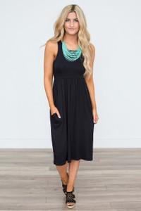 Solid Racerback Midi Dress - Black