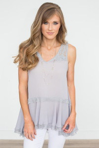Sleeveless Lace Tiered Blouse - Grey - FINAL SALE