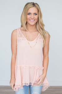 Sleeveless Lace Tiered Blouse - Peach - FINAL SALE