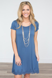 Scalloped Lace Trim T-Shirt Dress - Blue - FINAL SALE