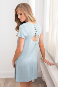 Lace Up Back T-Shirt Dress - Dusty Mint - FINAL SALE