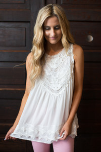 Sleeveless Crochet Lace Blouse - Off White