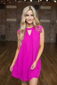 Lace Sleeve Keyhole Dress - Magenta