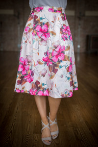 Floral Print Midi Skirt - Pink
