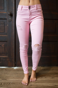 Distressed Skinny Jeans - Pink - FINAL SALE