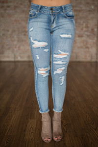 Mid Rise Destructed Skinny Jeans - Light Wash