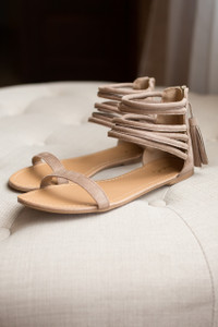 Faux Suede Tassel Back Sandals - Taupe