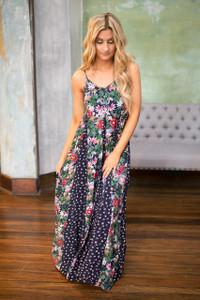 Mixed Floral Print Maxi Dress - Navy