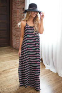 Striped Racerback Maxi Dress - Black/Burgundy