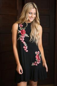 Rose Embroidered Ruffle Hem Dress - Black