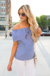 Striped Off The Shoulder Blouse - Blue/White