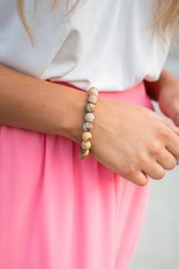 Round Beaded Bracelet - Brown