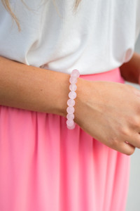 Round Beaded Bracelet - Light Pink