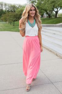 Side Pocket Maxi Skirt - Salmon Rose