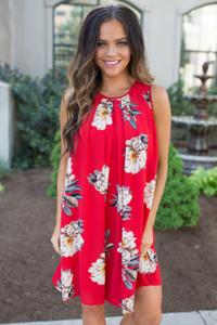 Hawaiian Floral Print Sleeveless Dress - Red