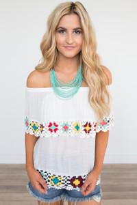 Crochet Trim Off The Shoulder Top - Off White