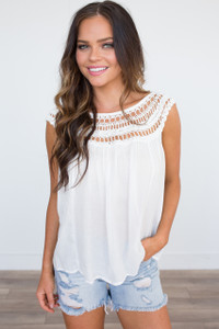Crochet Sleeve Top - Off White - FINAL SALE