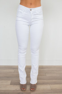 Mid Rise Bootcut Jeans - White