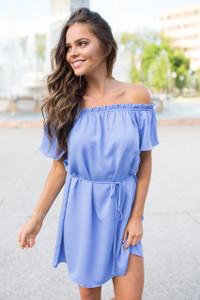 Everly Off The Shoulder Dress - Cornflower Blue