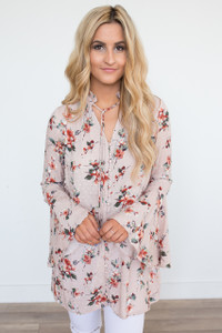 Floral Bell Sleeve Tunic - Blush