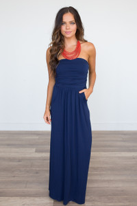 Solid Strapless Maxi Dress - Navy