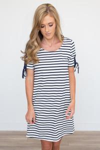 Lace Up Sleeve Striped Dress - Ivory/Navy - FINAL SALE