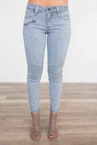 Zipper Detail Moto Stitch Jeans-Light Denim