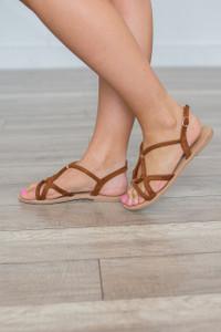 Multi Strap Suede Sandals - Cognac - FINAL SALE