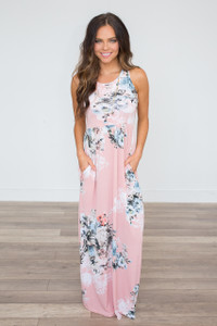 Floral Racerback Maxi Dress - Blush