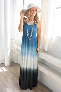 Tie Dye Tiered Maxi Dress - Blue