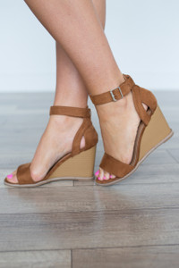 Ankle Strap Suede Wedge - Camel